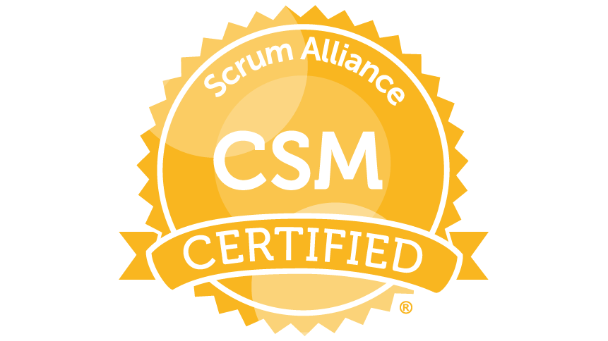 Certified ScrumMaster logo from Scrum Alliance, the only non-profit agile certifying body