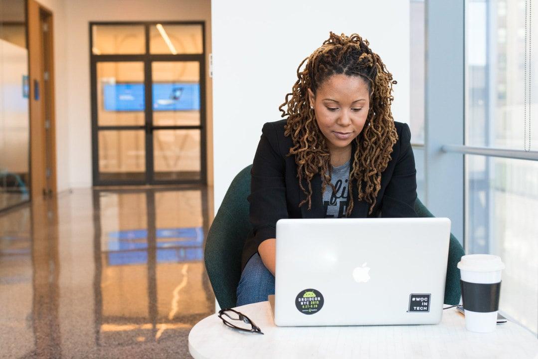 Woman attending virtual agile event